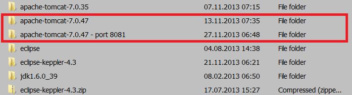 Clone Tomcat directory